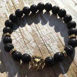 Volcanic Lava Stone Bead and Gold Lion Bracelet